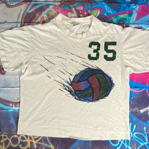 Vtg Asics Volleyball 35 2-Sided Graphic T Shirt
